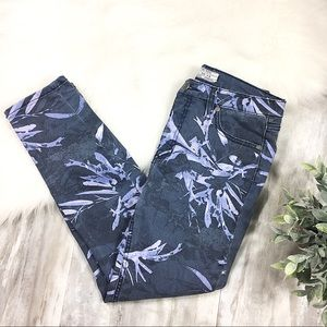 Free People Mid Rise Nature Print Jeans